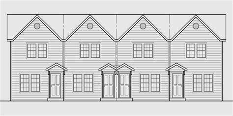 townhouse plans narrow lot 4 plex house plans multiplexes quadplex plans