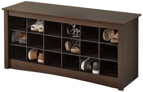 espresso wood espresso entryway foyer shoe 18 cubby storage organizer bench space saving wood shoe organizers