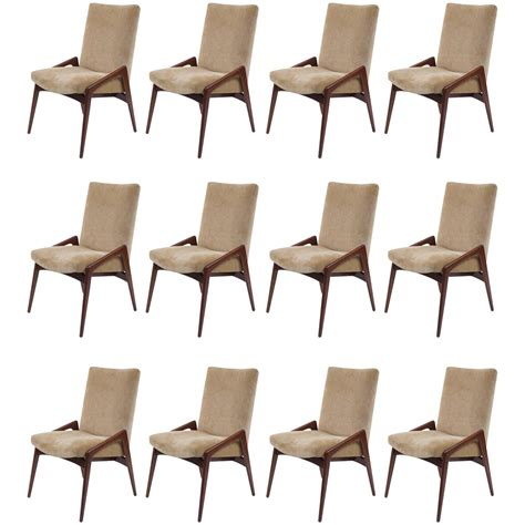 Set Of 12 Midcentury Modern Upholstered Dining Chairs At