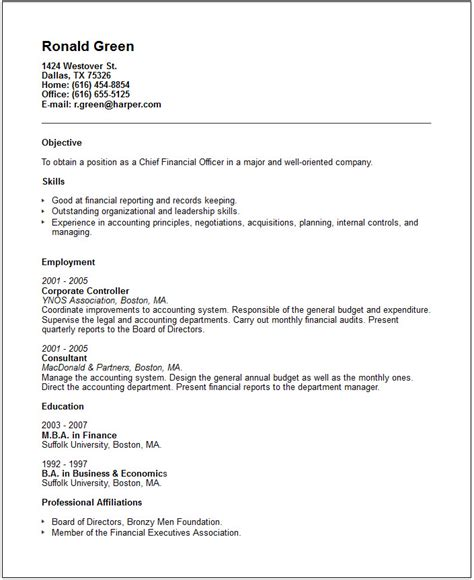 cfo resume exle free templates collection