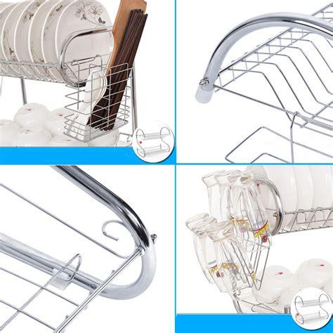 layers dish drying rack cup utensil dryer organizer stand kitchen plate holder  ebay