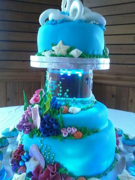 aquarium ocean seashells coral reef wedding cake coral