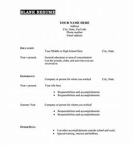 46 blank resume templates doc pdf free premium for Blank resume format free download