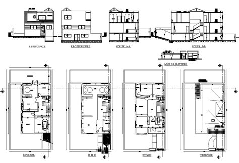 house layout plan  elevation design autocad file cadbull