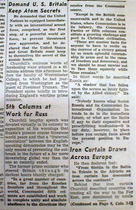 best 1946 display newspaper w winston churchill iron