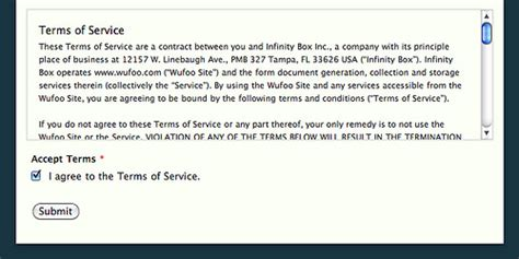 Accepting Terms Of Service Through A Wufoo Form
