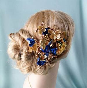 Royal Blue And Gold Flower Hair Accessory Bridal By