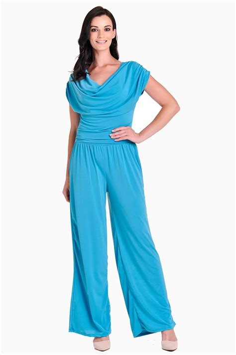 turquoise jumpsuit cowl neck jumpsuit in turquoise iclothing