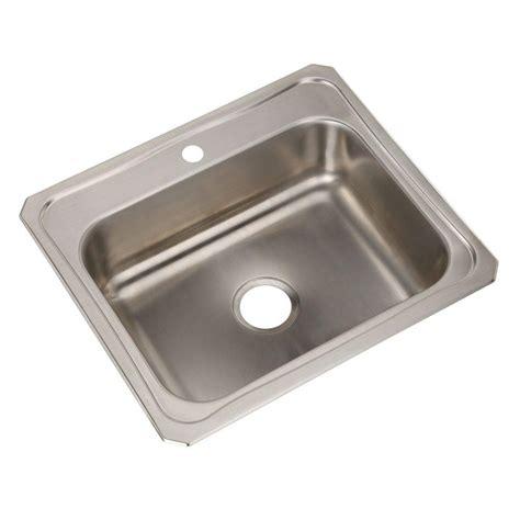 single basin stainless steel sink elkay celebrity drop in stainless steel 25 in 1 hole