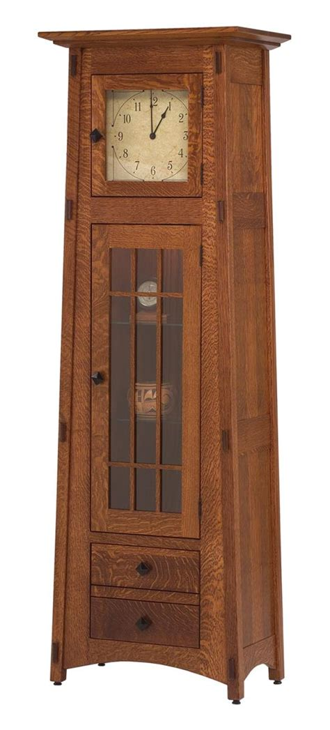 mission style clock cabinet  dutchcrafters amish furniture