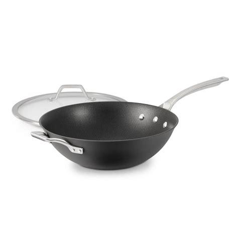 amazoncom calphalon  signature hard anodized nonstick covered flat bottom wok