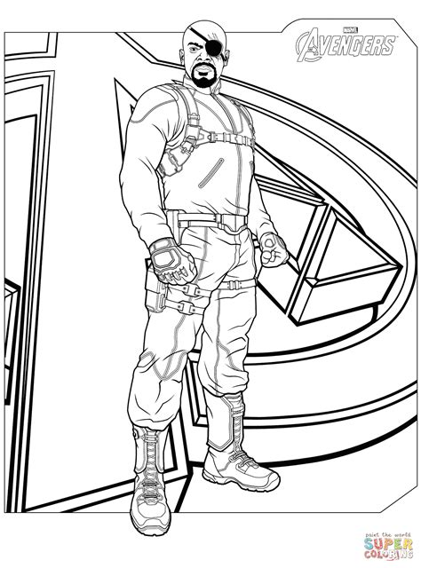 Avengers Nick Fury Coloring Page Free Printable Coloring