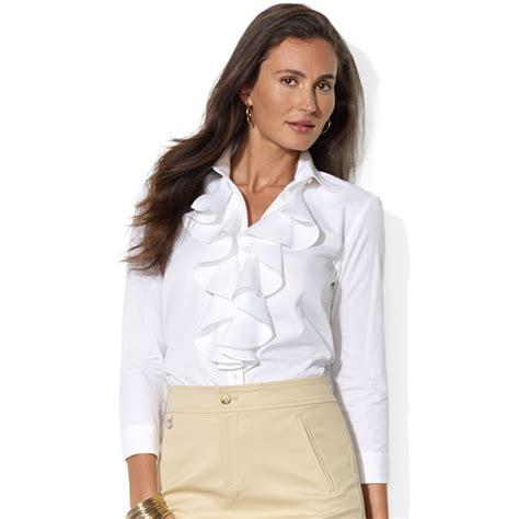 ruffled white blouse s ruffled shirts blouses fashion ql