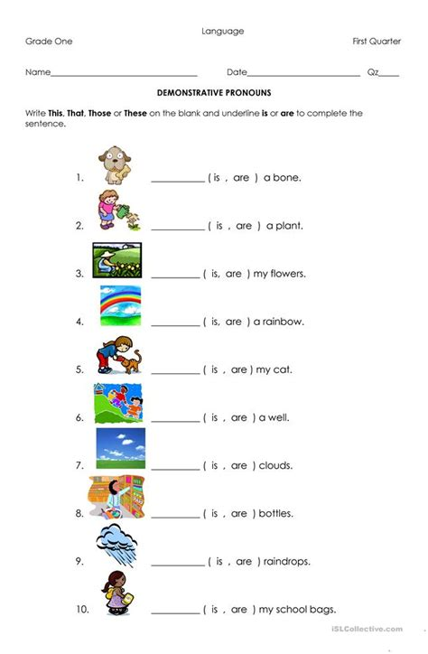 demonstrative pronouns worksheet  esl printable