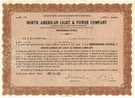 american light and power collectible autographed stock certificates