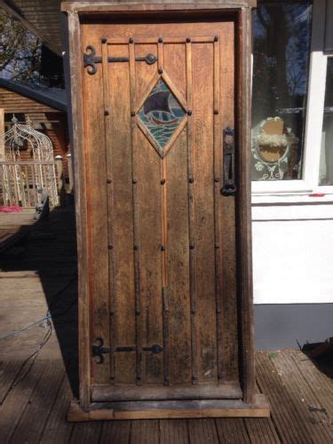 solid oak front door stained glass  period antique