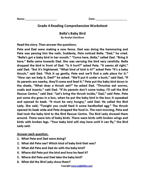 reading comprehension worksheets  grade   db
