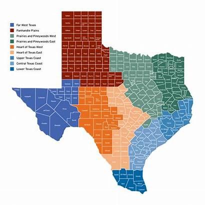 Texas Map Regional Counties Regions Tx State