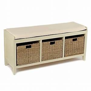 Cream 3-Basket Storage Bench Kirklands