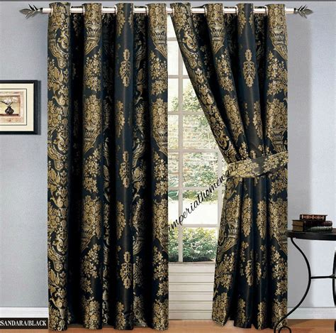 black and gold curtains black gold jacquard curtains ring top fully lined eyelet ready made tieback ebay