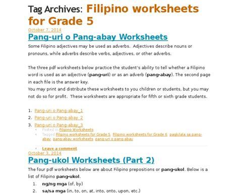 pang uri worksheets for 2nd grade inspiracao kids activities