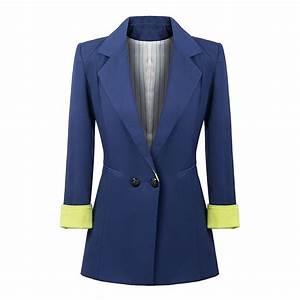 American Style Blue Black Long Blazer Women High Fashion ...