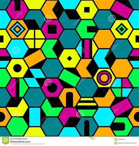 Abstract Geometric Shapes Pattern by Abstract Pattern With Colorful Geometric Shapes Stock
