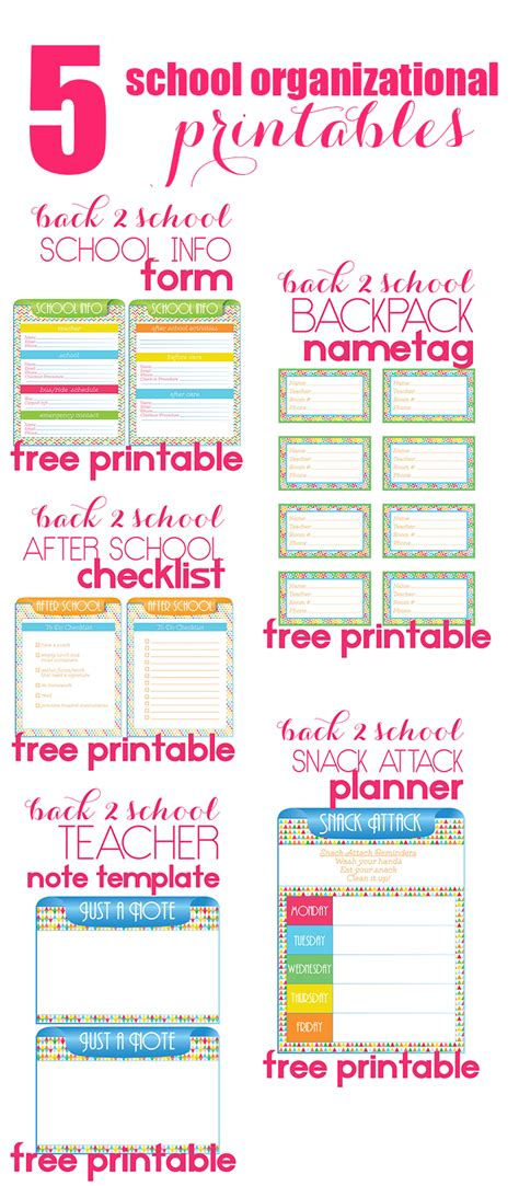 5 back to school organizational printables