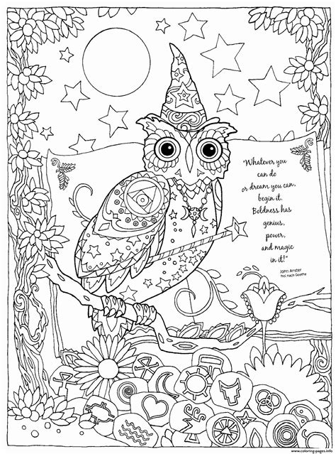 halloween magic owl power coloring pages printable