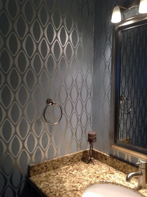 Modern Bathroom Wallpaper by Wallpaper Contemporary Bathroom Other Metro By