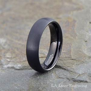 Black tungsten wedding band mens ring mens wedding band for Mens brushed wedding rings