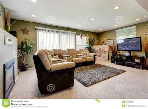 living room with comfortable furniture set stock photo