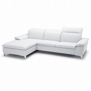 Catania leather left facing chaise sectional in white ca for Leather sectional sofa with left facing chaise