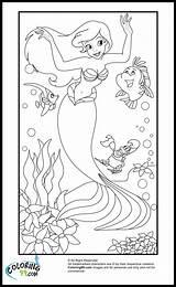 Coloring Pages Ariel Disney Princess Mermaid Purple Colors Team sketch template