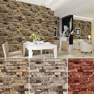 Vinyl Vintage Faux Brick Stone 3D Wallpaper for Home ...