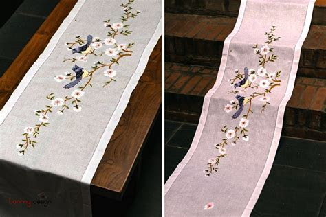 table runner spring bird embroidery