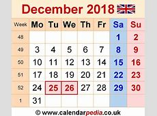 December 2018 Calendar Holidays Uk Qualads