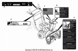 Ariens 939001  000101 -   St520e  5hp Tec   20 U0026quot  Width Parts Diagram For Decals