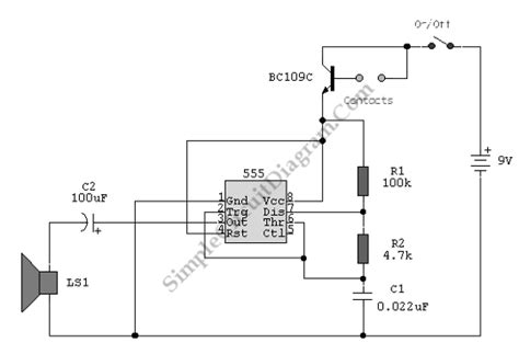 555 ic water level sensor detector alarm simple circuit diagram