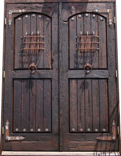 entry double door pine rustic handmade iron ebay