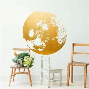 Moon decal golden gold foil art wall