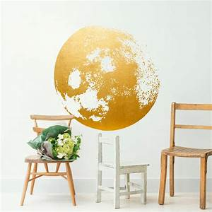 moon decal golden gold foil art moon wall decal moon With gold wall decals