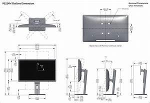 Dell P2214h Monitor Outline Dimensions User Manual Setup