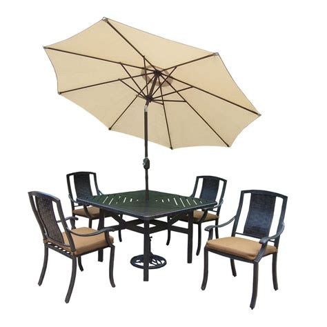 oakland living 7 piece square aluminum patio dining set