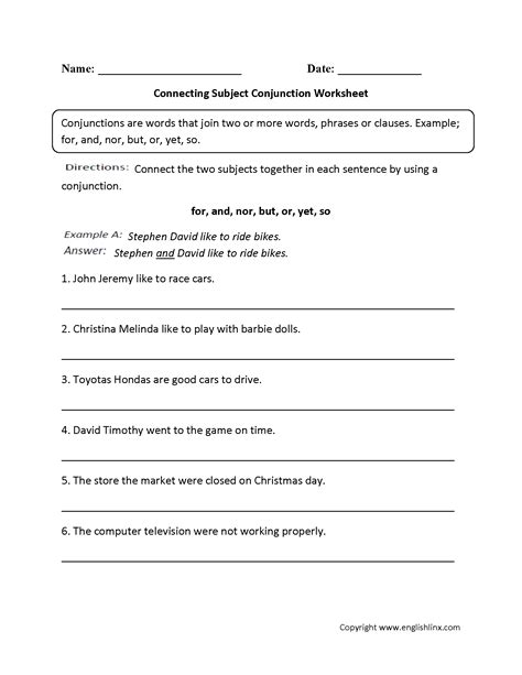 conjuction worksheets free worksheets library