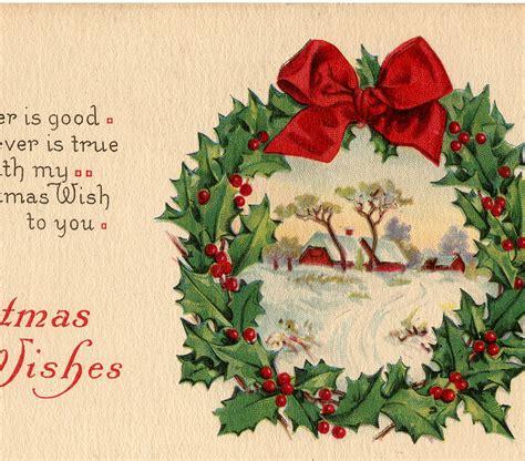 vintage christmas wreath card  graphics fairy