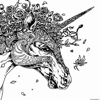 Unicorn Coloring Pages Zentangle Head Adult Printable