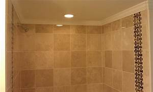 Marble Tile Done With Crown Molding Installed At Top