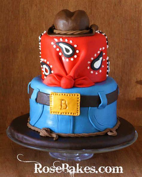 cowboy western birthday cake  jeans bandana