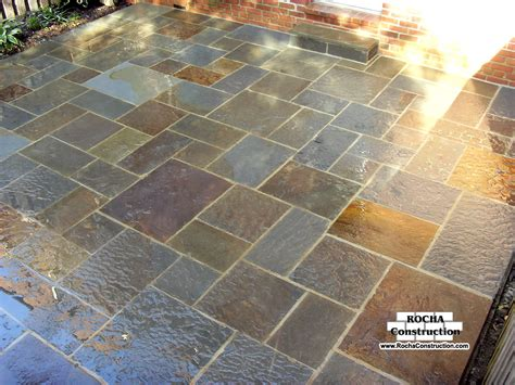 how to install flagstone patio flagstone patio on concrete icamblog